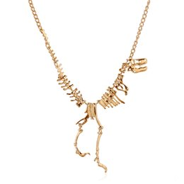 Wholesale Dinosaur Charms - Pendant Necklaces Woman Jewelry Goth Alloy Dinosaur Skeleton Dead Tyrannosaurus T-Rex Charm Necklace Dinosaur skeletons Punk Style Necklaces