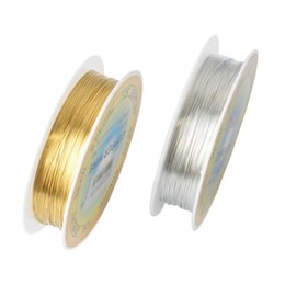 Wholesale Rolls Silver Wire - Wholesale-0.25 0.3 0.4 0.5 0.6mm 1 Roll Alloy Cord Silver Gold Plated Craft Beads Rope Copper Wires Beading Wire Jewelry Making Free Ship