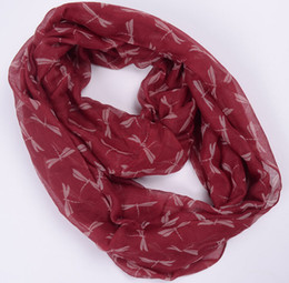 Wholesale Print Circle - NEW women Fashion dragonfly Print Voile Scarf Circle Loop Cowl Infinity Scarves Ladies Scarves
