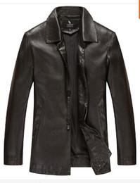 Wholesale Real Fur Coats Men - Fall-2016 New Warm Winter Sheepskin Men's Leather jacket Men Leisure Fur coat Brand luxury Real Leather coat