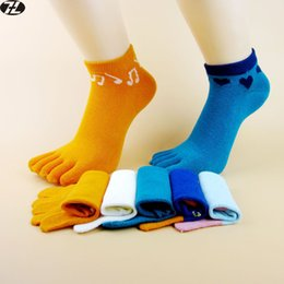 Wholesale Cute Toe Socks For Women - Wholesale-5 Pairs 100% Cotton women Toe Socks summer style Casual Five Finger Socks Breathable outdoor calcetines Cute socks for women