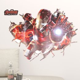 Wholesale 3d Movie Iron Man - The Avengers 3D Wall Art Decal for Children PVC Removable Iron Man Wall Stickers for Kids Room Bedroom Home Decor
