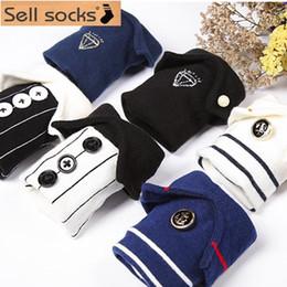 Wholesale Japanese Buttons Wholesale - Wholesale-2015 winter Japanese magazine style Creative shirt collar cotton Socks Navy Stripe pearl button women sock female size35-40