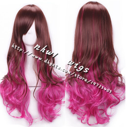 Wholesale Fashionable Hair Styles - 2016 Womens Gradient Wavy Cosplay Wigs Popular Fashionable Hair Volume Style Bangs Long Hair Cosplay Lolita Wigs