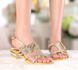 Wholesale Ladies Beaded Shoes Black - 2015 Fashion New High Heel Sandals Beaded Rhinestone Open Toe Lady Bridesmaid Summer Cool Elegant Shoes Bridal Wedding Dresses Shoe