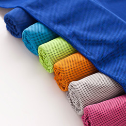 Wholesale Multi Cool Towel - Multi Color Cooling Snap Towel Outdoor Sports Sweat Absorbent Frog Toggs Chilly Pad Evaporative Yoga Fitness Summer Towel 10pcs lot SK570