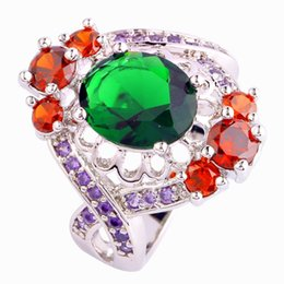 Wholesale 925 Mans Ring Sapphire - Wholesale Very Atmospheric Oval Cut Green Sapphire & Garnet 925 Silver Ring Size 10 For Women Men Party Jewelry Free Shipping