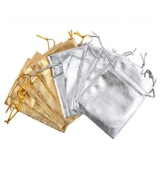 Wholesale Organza Bags 5x7cm - 100pcs Gold Silver Color Metallic Stain Jewelry Wedding Gift Organza Pouch Bags 5x7cm   7x9cm   9x12cm   11x16cm   13x18cm