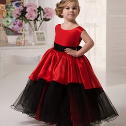 Wholesale Kinds Ball Gowns - 2017 Cute Red and Black Flower Girl Dresses kinds ball gown Sleeveless Zipper Back First Communion Dresses for Girls