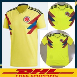 Wholesale Free Shipping World - DHL Free shipping 2018 Colombia World Cup Soccer Jerseys Uniforms Yellow Football Shirt Size can be mixed batch