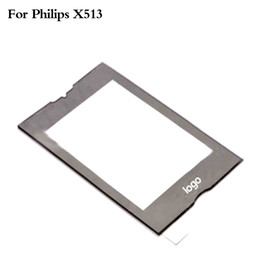 Wholesale Philips Mobile Phones - Wholesale-Original Black Front Glass Lens For Philips X513 Screen Mobile Phone Touch Panel Window Without Digitizer Replacement With Logo