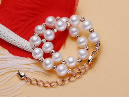 Wholesale White Round Freshwater Pearl Bracelet - Freshwater pearl bracelet near round 6.5-7mm women's hand ornament lengthened tail chain