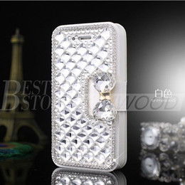 Wholesale Galaxy Note Credit Card Case - For Iphone 6 plus 5 Samsung Galaxy S6 Note 5 Luxury Fashion Diamond Cell Phone Case Cover with Bling Pearl Credit Card Holder