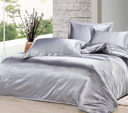 Wholesale Silver Duvet Covers - Custom Size 2015 Spring Summer Luxury Silver Grey Mulberry Silk Satin Bedding Set King Size Comforter Sets Queen Full Twin Duvet Cover
