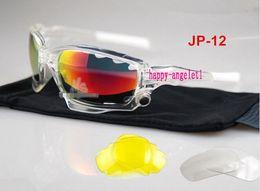 Wholesale Titanium Cycle Glasses - NEW Brand JP-012 Crystal Transpar frame men women Bicycle Cycling Eyewear Glasses Sport Sunglasses UV400 3 Lens Sporting Sun Glasses Goggles