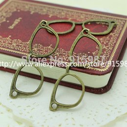 Wholesale Metal Charms Bronze Frame - Wholesale-20pcs Vintage Bronze Metal Alloy Glasses Frame Jewelry Connectors Jewelry Findings 19*54mm Jewelry Making Charms