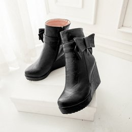 Wholesale Womens Platform Wedge Boots - Womens Solid color Fashion sweet bowknot wedge heels platform ankle boots shoes
