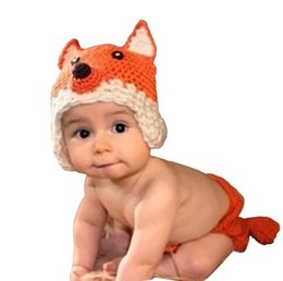 Wholesale Photos Foxes - Newborn Baby Photo Props Outfits Fox Partten Hat and Shorts Set For 0-6 months Boy Girl Photography