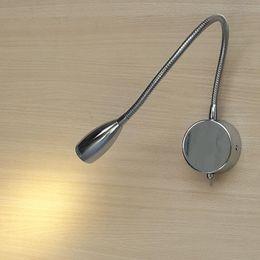 Lampes de lecture montées sur lit Topoch Câblé Directionnel Tuyau Tuyau en aluminium Tête conique Focussing Lens Fini chrome 3W LED 200LM ? partir de fabricateur