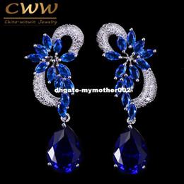 Wholesale Long Stone Drop Earrings - CWWZircons Brand Unique Design Silver Color Luxury Cubic Zircon Drop Stones Long Royal Blue Earrings For Women CZ234