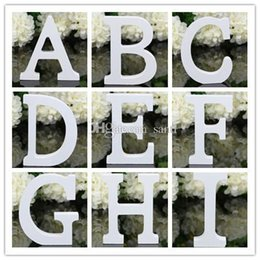 Wholesale Wholesale Wooden Wood Letters - Home Decor Decoration thick Wood Wooden White Letters Alphabet Wedding Birthday 8cmX1.2cm
