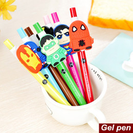 Wholesale Anime Material - Wholesale-42 pcs Lot Cartoon movie hero black ink pen Anime heroes gel pen Stationery Caneta escolar Office material school supplies 6526