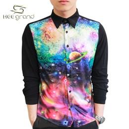 chemise à col galaxie Promotion Vente en gros-2015 nouvelle arrivée impression 3D Galaxy Chemises Homme Casual Conception spéciale épissage col rabattu chemise à manches longues MCL104