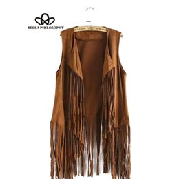 Wholesale Leather Summer Jacket - Wholesale- 2017 spring summer new wholesale fringed tassels faux suede sleeveless asymmetrical vest jacket