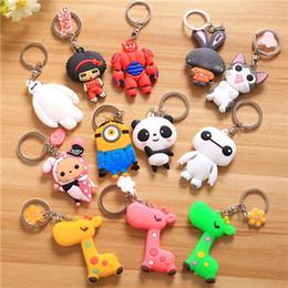 Wholesale Wholesale Minions Souvenir - Famous Cartoon Key chains Key Rings Holder Souvenir For Gift Children Jewelry Minions Panda Giraffe Silica GeToys Pendants Cute Safe