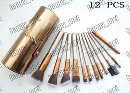 Pinceles de maquillaje porta vasos online-Directo de fábrica DHL envío gratis nuevo pinceles de maquillaje 12 piezas cepillo con funda de vaso de oro! 233