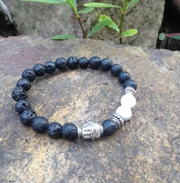 Wholesale Silver Mala - SN0372 Black Lava Bracelet Antique Silver Buddha Head Bracelet natural white turquoise stretch mala braclets for men