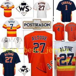 Wholesale W Ice - 27 Jose Altuve jersey Men 1 Carlos Correa 4 George Springer 34 Nolan Ryan7 Biggio 5 Jeff Bagwell 2017 W S Patch jerseys