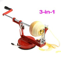 Wholesale Red Pear Fruit - 3 in 1 Stainless Steel Fruit Apple Zester Pear Peeler Corer Slicer Suction Base Red , Dropshipping Wholesale