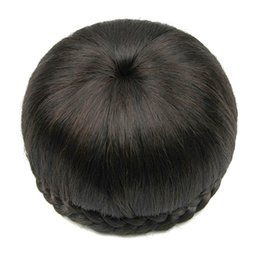 Wholesale Hairpieces For Black Women - 2017 6 Colors Synthetic Hair Clip In Hair Brown Black Braided Chignon Donut Roller Hairpiece Hair Bun Accessories for Women