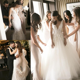removable train vintage wedding dress Promo Codes - 2018 Steven Khalil Two Pieces 2 in 1 Mermaid Wedding Dresses with Removable Long Over Skirt Train Pearls Bridal Gowns Plus Size Cheap