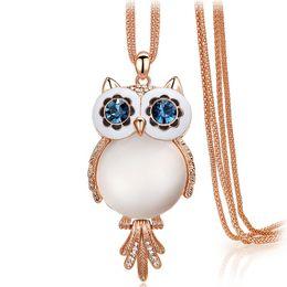 Wholesale Titanium Owl Pendants - Kalome jewelry Korea double crystal necklace female owl lovely autumn 100 collocation feathering clothes chain