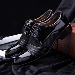 Wholesale Size Black Wedge Shoe - 2016 new Size 6.5-11 Mens Dress Shoes Fashion Oxford Shoes For Men Black   Brown PU Leather Wedding & Formal Flats chaussure homme