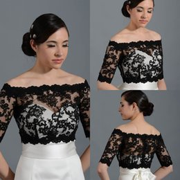Wholesale Off Shoulder Sleeves Bolero - 2015 New Design Off Shoulder Half Sleeve Lace Black Bolero Jacket Cheap Cap Wrap Shrug For Wedding Bridal Evening Party PJ014 Free Shipping