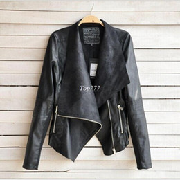 Wholesale Womens Leather Down Jacket - PU Leather Jacket Women Clothes Faux Turn-Down Collor Female Jackets Womens Slim Coats Plus Size Feminino Mujer Outerwear 7146