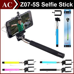 Wholesale Pole Plug - Portable Selfie Stick Z07-5s Audio Extendable Handheld Monopod Plug & Play Cable Wired Take Pole Wired for SAMSUNG IPHONE Smart Phone DHL