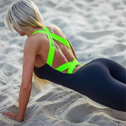 Wholesale Cross Color Clothing - 2016 MODE Yoga clothes fashion Women Rompers Bandage Bodysuit Sportwear Fashion Skinny Rompers pink green Aerobics clothing Free Shipping