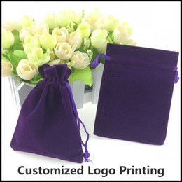 Wholesale Wholesale Customized Jewelry - Wholesale 50pcs Lot 9x12cm Purple Christmas Jewelry Velvet Gift Packaging Drawstring Bags & Pouches Can Customized Logo Printing