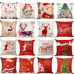 Wholesale Cotton Christmas Decorations - 45*45cm Pillow Case Christmas Decorations For Home Santa Clause Christmas Deer Cotton Linen Cushion Cover Home Decor