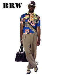 Wholesale Wax Prints Fashion - Wholesale-Printed Short Sleeve Men Shirt Customized Fashion Cotton Wax Africa Style Clothing WYN91