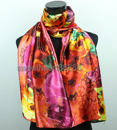 Wholesale Scarf Long Color - 1pcs Volcano Color Flower Yellow Flowers Women's Fashion Satin Oil Painting Long Wrap Shawl Beach Silk Scarf 160X50cm