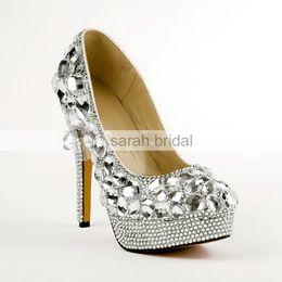 Wholesale Luxury Ladies Dress Prom - Luxury Crystal Rhinestone Crystal Wedding Dress Shoes Round Toe Stiletto Heels Silver 14cm Lady Prom Party Evening Bridal Accessories 2017