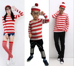 Wholesale Female Child Stars - Women Men Children Christmas Striped Costumes 3 pcs set Christmas hat+Spectacle frame+T-shirt Santa Claus Costumes for Adults Uniform