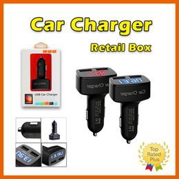 Wholesale Display Solar Led - Dual USB Car Charger Adapter 5V 3.1A LED Display with Temperature Current Meter Tester for iPhone 5 SE 6 S PLUS S