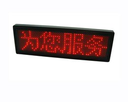 Wholesale Scrolling Screen Display Led - Freeshipping Red scrolling screen badge LED name badge business card tag display sign rechargeable+Programmed 12*48 dots