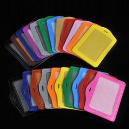 Wholesale Badge Cases - Candy Color Pu Leather Badge Holder Cover Case for Student Card Employee Exhibition Factory Badge Holder 2 Sizes Free DHL